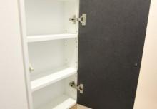 収納 壁厚を利用してサニタリーがスッキリ収納できます。