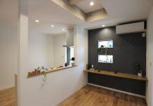 スタディーコーナー キッチン横のスタディーコーナーは、レシピを調べたり、子供の勉強など利用できる空間にしました。